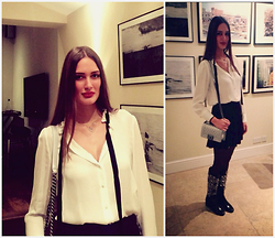 Amina Allam - Zara Blouse, Zara Pleated Skirt, Chanel The Boy, Saint Laurent Studded Boots - Dinner with friends