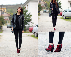 Dosta Radnjanska - Martofchina Jacket, Romwe Sweater, Romwe Leggings, Asos Boots - How to wear all black look