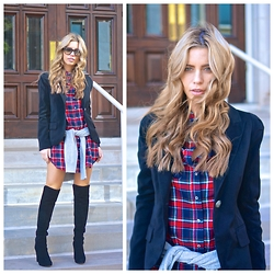 The Pearl Oyster - Windsor Store Plaid Tunic, Stuart Weitzman Otk, Sheinside Blazer, H&M Sweater - Plaid tunic