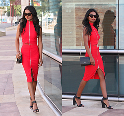 Tiffany Borland - Missguided Red Crop Top, Missguided Red Midi Skirt, Asos Black Strappy Heels - When it hits you that she's gone