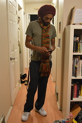 Phareke Frazer - Value Village Navy Blue Plaid Trousers, Target Green V Neck Tee, Hand Knitted Scarf, Hand Knitted Tam, Lugz White Kicks - Less is More