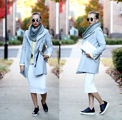 Queen Horsfall - Oasap Grey Coat, Oasap Loop Knit Scarf, Shellys London Laraun, Asos White Midi Skirt - Mild November