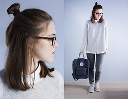 Rouge Imaginaire - Cheap Monday Jeans, Fjällräven Kånken Backpack, Cos White Shirt, Zara Sweater, Converse Shoes - ÖVER MIN DÖDA KROPP
