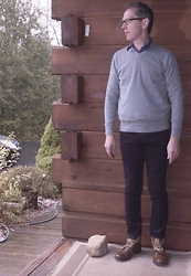 Carl Campion - Gap Gray Sweater, Gap Skinny Cords, Steve Madden Winter Boots - Getting Cold out