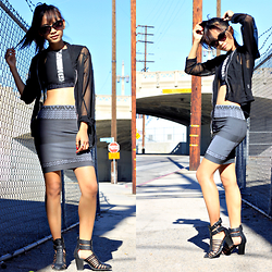 Indah Amelia - Mesh Jacket, Alexander Wang Bodycon Skirt - Wanged