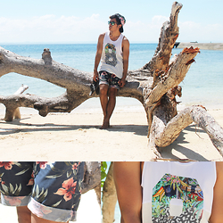 Vincent Entanto - Bench Floral Shorts, Coco Cabana Number 8 Tropical Tank Top - Tropically Fine