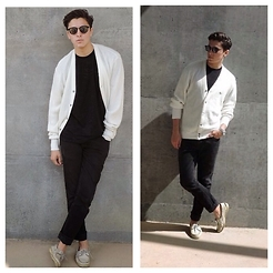 Brandon Beltran - Maui Jim Sunglasses, Lacoste Cardigan, Levi's® Jeans, Sperrys - The Cardigan