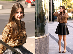 Angela M - No Name Shirt With An Animal Pathern, Tally Weijl Leather Skirt - Cat(woman)