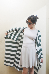 Naomi Sasaki - Mango Striped Green Cardigan - If I'm Audrey Hepburn, You're James Dean