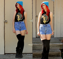 "Michelle Blue - Knit Beanie, Claire's Bead Choker, Riot Society Graphic Muscle Tank, Bullhead High Waisted Denim Shorts, American Apparel Thigh High Socks, Banana Bay Combat Boots - ""Girl, Who Taught You How To Move Like That?"""
