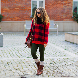 Gabriela Grębska - Romwe Sweater, Trendyfine Pants, Tommy Hilfiger Boots, H&M Socks, Zerouv Sunnies - Checked sweater