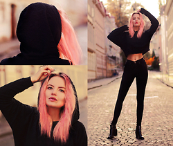 Elin Hansson - Hoodie, Dr. Denim Black, Lacquered Shoes, Glitter Pink Hair - When The Beat Drops Out
