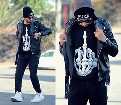 Faissal Yartaa - Mini Take Faux Leather Purity Casual Fashion Punk Coats & Jackets, Choies Black Skeleton Print Sweatshirt, Hoodboyz Fuck, Spektre Blue - VLL BLVCK