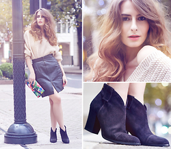 Denisia A. - Cara London Boots, Hand Knitted Sweater, Vintage Floral Clutch, The Original Company Leather Skirt - Biker Chic