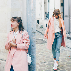 Astrid Sp4nk Blog - Boohoo Manteau Oversized, Urban Outfitters High Waist Jean, Pimkie Stripe Shirt - Rose pastel