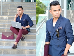 Paul Ramos - H&M Db Navy Blazer, New Look Pocket Square, New Look Pants, P.A.P Menvelope, Triwa Tortoise Shell Sunnies, Zara Tassel Loafers - A LIL BIT OF P.A.P
