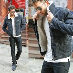Talun Zeitoun - Topman Shearling Denim Jacket, Matiere Long Tee, 3x1 Black Denim Jeans, Fiorentini+Baker Elf Boots, Tom Ford Aviator Sunglasses - Throwback Shearling Denim
