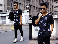 Michael Macalos - Forever 21 Silk Shirt, Adidas Shorts, Pony Sneakers, Forever 21 Man Purse, Sunglass Warehouse Eyewear - Floral Downtown
