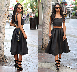 Tiffany Borland - Missguided Satin Square Top, Missguided Black Satin Midi Skirt - With your eyes all painted black.