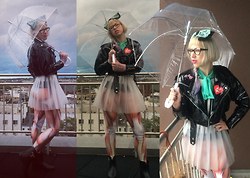 Kendalle Aubra - Bubble Umbrella, Eric Jean Vintage Glasses, American Apparel Minty Mesh Top, Giant Minty Bow, Lip Service Pvc Skirt, Muscle Leggings, Vivienne Westwood Rain Boots - Rainy Day Chic: Go On, Look Right Through Me