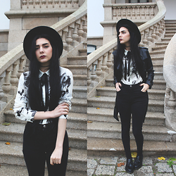 CLAUDIA Holynights - Shalex Black Roses Printed Shirt, Style Moi Leather Trench Coat, Dr. Martens Adrien Shoes - Black roses