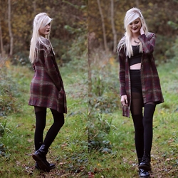 Faye S. - Unif Nevermind Duster, Tally Weijl Crop Top, Primark Shorts, Dr. Martens Boots - It comes in waves