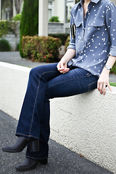 Jennifer Chou - Equipment Shirt, Genetic Denim Bootcut Jeans, Alexander Wang Booties - The other day