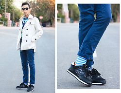 Ahmed Imoudrog - Giantvintage Sunglasses, Minitake Cotton Over Coats With Belt For Boy Men, Sammyicon Blue Socks - DAPPER