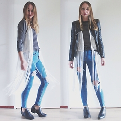 Magna G. - Zara Leather Jacket, Bershka Fringed Jacket, Zara Striped Top, Sheinside Ripped Skinny Jeans, S E N O Low Ankle Boots - Fringes, leather & ripped jeans