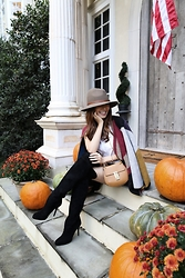 Christina Oh - Rag & Bone Hat, Burberry Cape, Rag & Bone Top, Chloé Bag, Jimmy Choo Shoes - AUTUMN COLORS