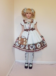 Petite Decadent - Angelic Pretty Melty Chocolate Op, Innocent World Locket Bag - Melty chocolate 11/11