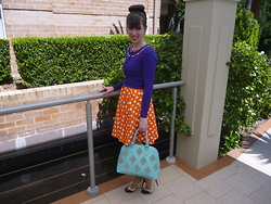 Imogen O - Custom Made Polka Dot Dress, Review Australia Cardigan (Customised), Wittner Queen Heels, Tidebuy Colour Block Tote - Purple, Orange & Blue