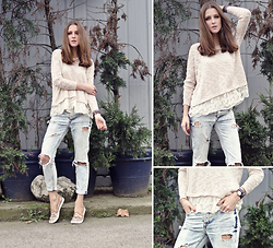 Katerina Kraynova - Sheinside Sweater, H&M Shoes, Daniel Wellington Watch - Lacy Layers