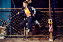 Ewa Szabatin - Nike Black Leggings, Nike Yellow Top, Nike Bomber Jacket, Nike Silver Sneakers - Fit body...Fit soul