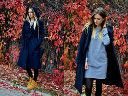 Kasia Z. - H&M Coat, Timberland Shoes - NAVY COAT & TIMBERLANDS