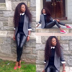 Sheek P. - Sheekvintage Vintage Blazer, Talbots Sweater, Asos Skinny Pants, H&M Button Up, Michael Kors Watch, Monika Chiang Color Block Pumps, Converse Chuck Taylors - Too Cool for School
