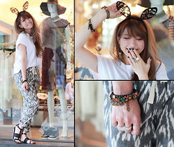 MillyQ Chung - Gat Rimon Printed Trousers, Alexander Wang Strap Sandals, Piera With Love Hair Ornaments, Rada Italy Handmade Jewelry Bracelets, ArtĒ Diamond Ring - Hey♥Good Day=)