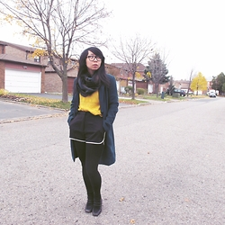 Betty; L - Its Betty Ann Plaid Circle Scarf, Forever 21 Long Coat, Spoof Crochet Sweater, Bluenotes Contrast Trim Shorts, Vintage Booties - Contrast is Interest