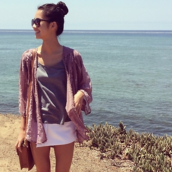 Kacie H. - Urban Outfitters Asymmetrical Cut Shorts, Asos Boxy Scallop Bag, Kimchi Embroidered Kimono, H&M Basic Grey Tee - Sunset Cliffs