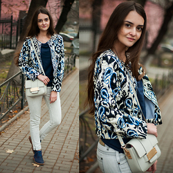 Christina & Karina Vartanovy - Sheinside Embroidered Jacket, Promod Blue Knit Jumper, H&M Mini Bag, Zara Light Grey Jeans, Centro Blue Flat Booties - Karina: joy