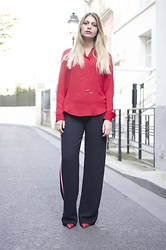 SARAH LOSS - Zara Shirt, Zara Pants, Zara Red Heels - Red smart pyjama