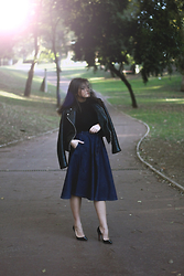 Flaviana B. - Pull & Bear Skirt, Mango Leather Jacket, Christian Louboutin Shoes - DENIM MIDI SKIRT