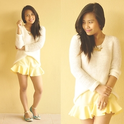 Ellaine Regala - Splash Statement Necklace, H&M Sweater, Circles En Dots Skort - Sweater Weather (www.lepetitewears.com)