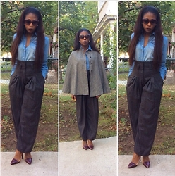 Sheek P. - H&M Chambray Denim Shiry, H&M High Waist Trousers, H&M Cat Eye Sunglasses, Sheekvintage Cape, L.A.M.B Oxley Pumps - Grey Cape