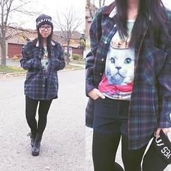 Betty; L - Ardene Yes/No Beanie, Thrifted Plaid Flannel, Ebay Galaxy Kitty Tank, Forever 21 Corduroy Shorts, Ardene Microfleece Tights, Ardene Wedge Boots - Wildlife Feature