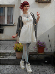 Rabbit Heart - H&M Shoes, Regalrose Necklace, Diy Cardigan, Lindex Tights - Won´t Look Back