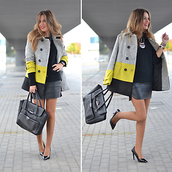Helena Cueva - Sheinside Coat, Fashion Pills Sweater, Abaday Skirt, Zara Heels, Lefties Handbag, Primark Necklace - Tircolour Coat