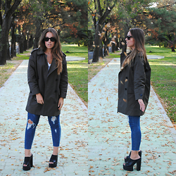 Claudia Villanueva - Mango Green Trench Coat, Style Nanda Ripped Skinny Jeans, Missguided Chunky Heel Mules - Autumn Leaves