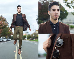 Christopher Michael - H&M Dark Brown Corduroy Blazer, Mossimo Black Collared Shirt, Ecko Military Green Jeans - SUPERNATURAL
