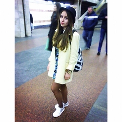Anna Bondarenko - Calioppe Hat, House Rucksack, New Look Dress, Asos Keds - Kiev underground ✌️